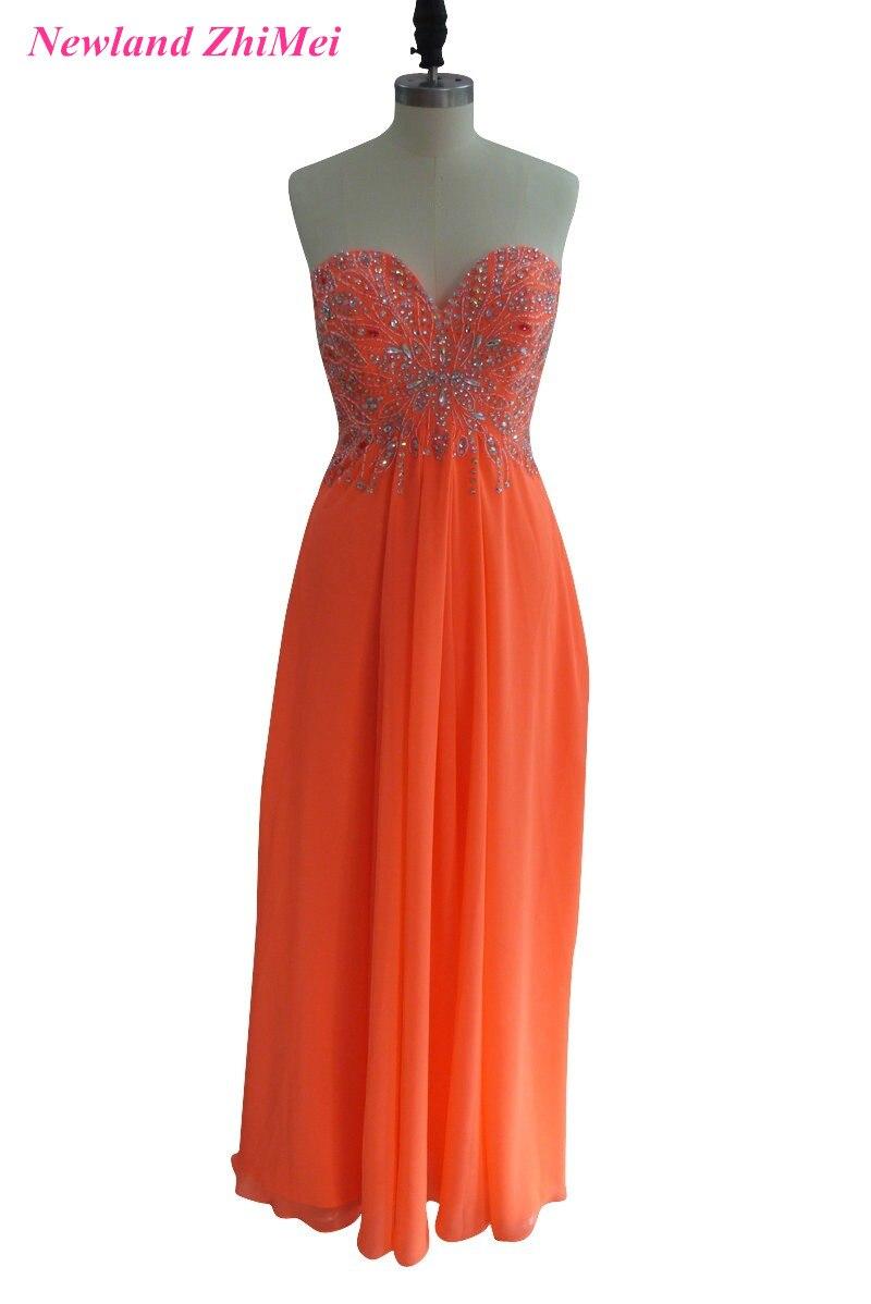 Chaude Orange longue en mousseline de soie femme robes formelles robe élégante chérie perlée dos ouvert robes de bal
