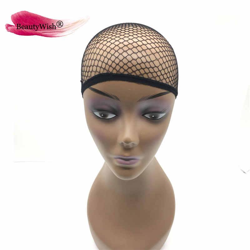 HairNet Beautywish 2 uds, nuevas redes elásticas para el cabello, peluca de redecilla, gorra, malla fresca, Cosplay, Color negro, Red para el pelo con una abertura