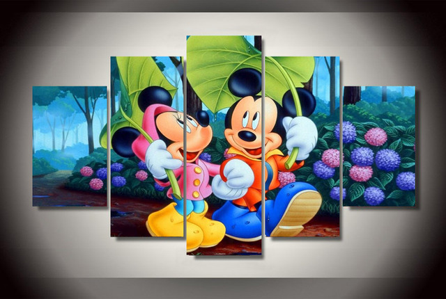 Us 14 29 35 Off Hd Printed Mickey Mouse Modern Paintings On Canvas Wall Pictures For Living Room Unframed 5pcs Decorative Picture Cartoon Poster In