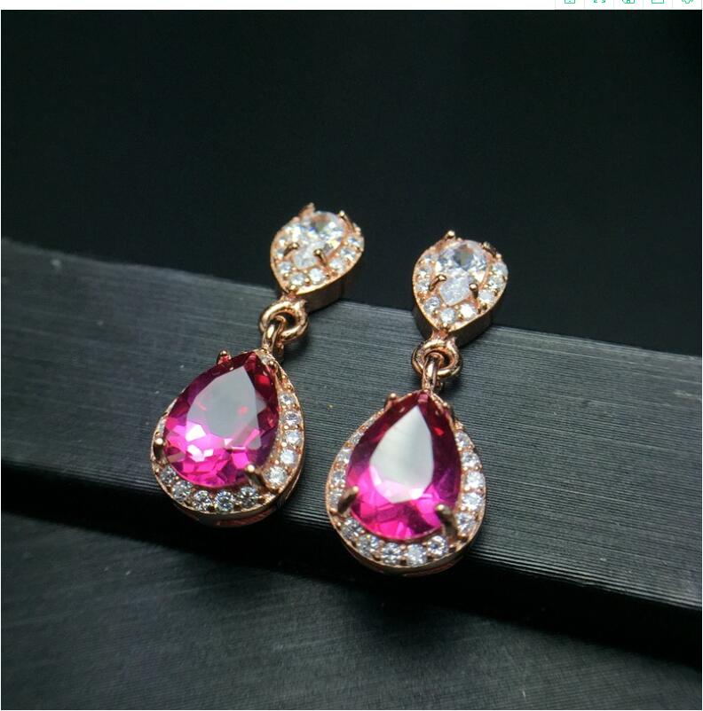 Natural Pink topaz earring Free shipping Natural real Pink topaz 925 sterling silver 6*8mm natural alphabet n pink