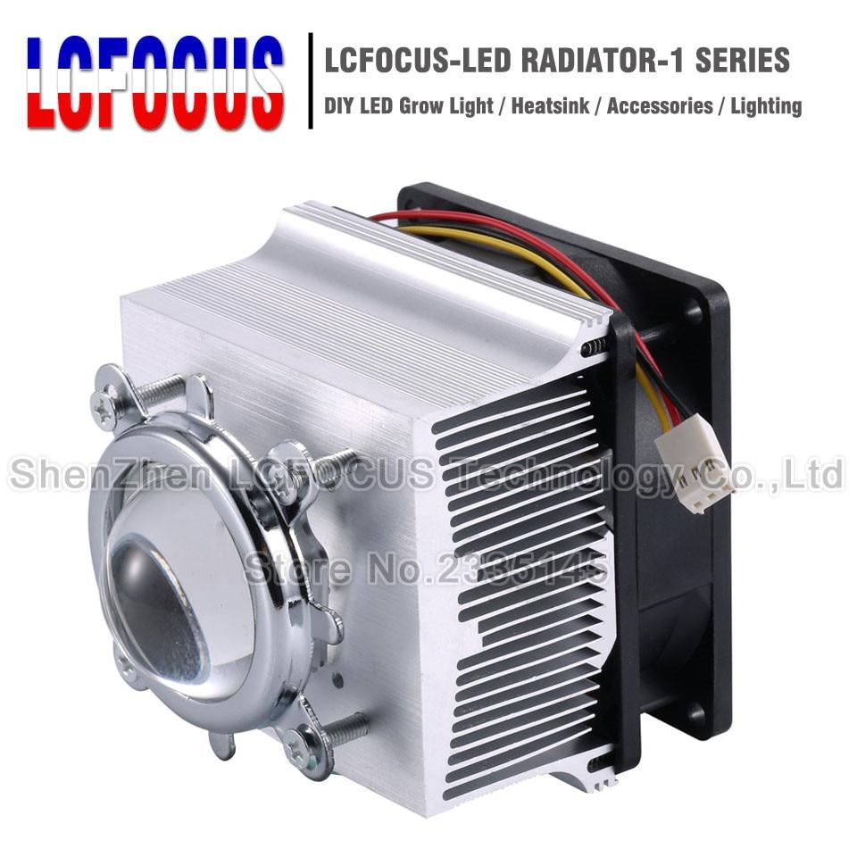 LED Heatsink Cooling Radiator + 60 90 120 Degrees Lenes + Reflector Bracket + Fans For 20 30 50 100 W Watt LED COB