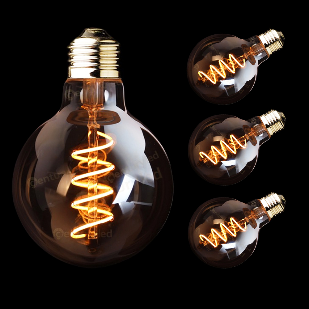G125 Amber Shape 3W Dimmable Edison LED Spiral Filament Bulb Super warm 2200K E26 E27 Base
