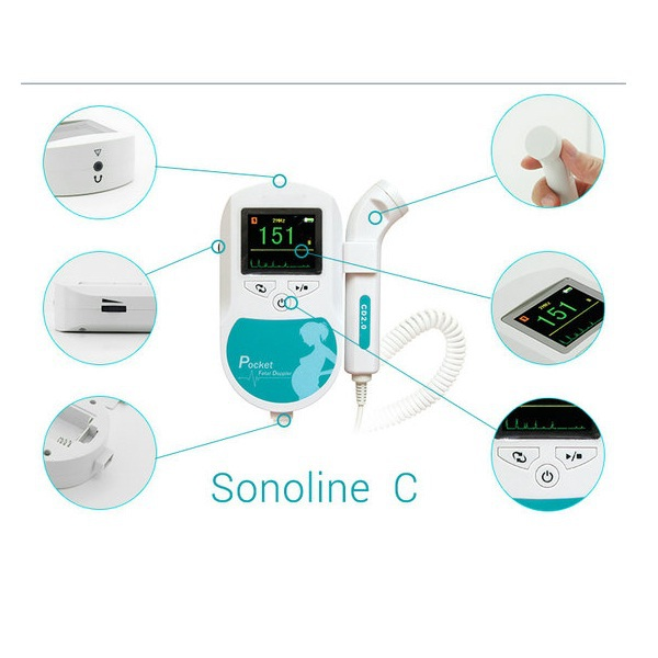 2MHz Turquoise Sonoline-C Portable Baby Heartbeat Fetal Doppler With Free Gel