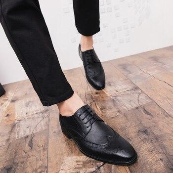 Plus Tamaño Hombres Brogue Zapatos De Vestir Zapatos De Lujo De Estilo Italiano Punta Formal De La Boda De Encaje Casual-Cuadros De Cuero De Negocios Zapatos