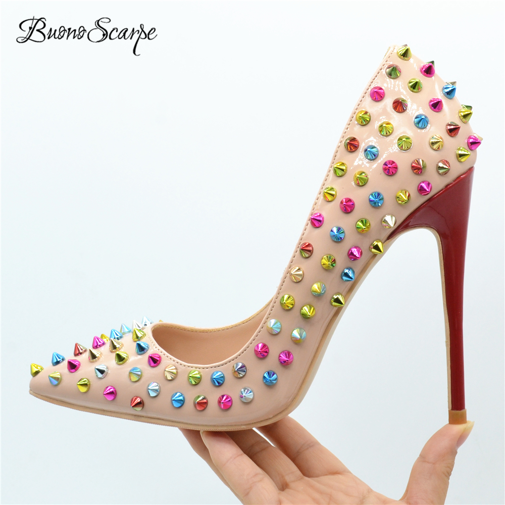 BuonoScarpe Sexy Colorful Rivets High Heel Pumps Pointed Toe Spiked Studs Shoes Red Stiletto High Heel
