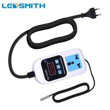 LEDSMITH Digital Temperature Controller AC 110-220V EU Plug Thermostat  Regulator -50~110C Microcomputer Socket Outlet en05 ego 50 59070 008 240v 13a thermostat energy regulator simmerstat 5059070008