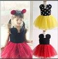 Novo 2016 Casual Vestidos de Verão das Meninas Dos Miúdos Das Crianças Da Menina dos desenhos animados mini fone de ouvido padrão de Vestido vermelho/amarelo dot Bebê roupas