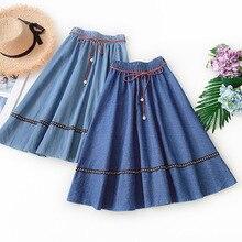 Wasteheart Summer Blue Women Skirt High Waist A-Line Long Mid-Calf Skirts Sexy Denim Casual Lace Up Beading