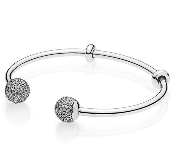 Top Quality Moments Open Pave Caps With Cubic Zirconia Pandora Bangle Bracelet Fit Bead Charm 925 Sterling Silver JewelryTop Quality Moments Open Pave Caps With Cubic Zirconia Pandora Bangle Bracelet Fit Bead Charm 925 Sterling Silver Jewelry