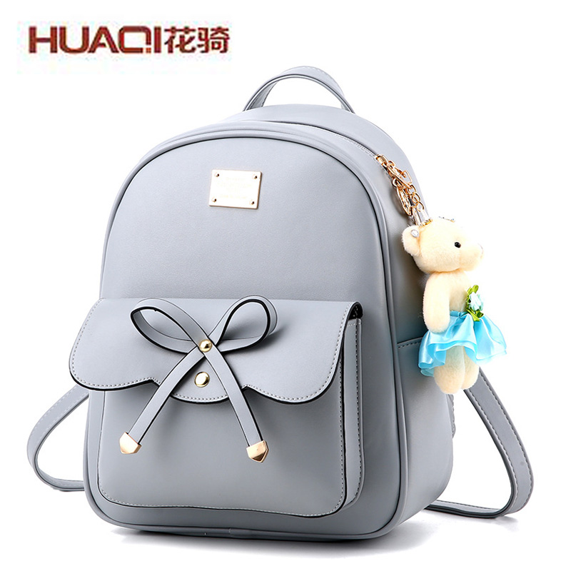 ФОТО 2017 Korean Designers Women's PU Leather Bag Famous Brand Ladies Casual Backpack Cute Bowtie School Bag Travel Bags HQ1688