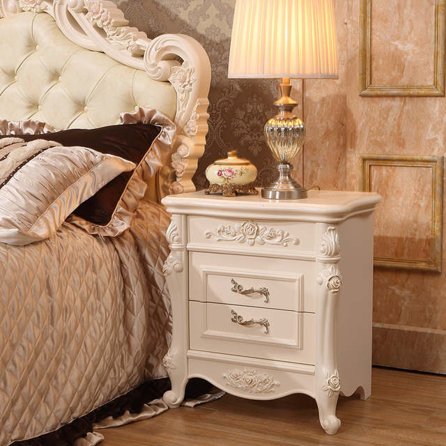 French Royal Bedroom Furniture Set Nightstand Bedsides Storage Cabinet
