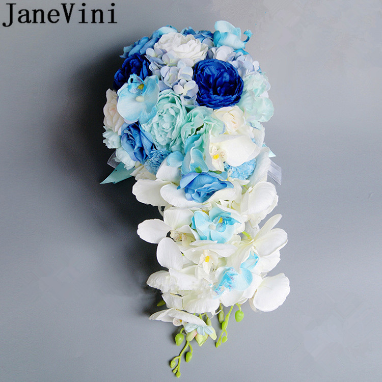 JaneVini Royal Blue Artificial Bride Bouquets Waterfall Bridal Bouquet With Crystal Silk Flower Wedding Bouquet Roses Artificiel