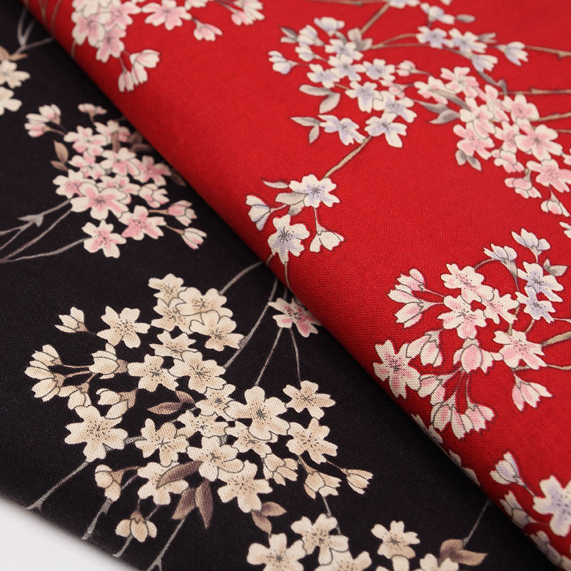 140X100cm Japanese Cherry Blossom Printed Cotton Fabric for Kimono Clothes Dress Sewing Patchwork DIY-AF119
