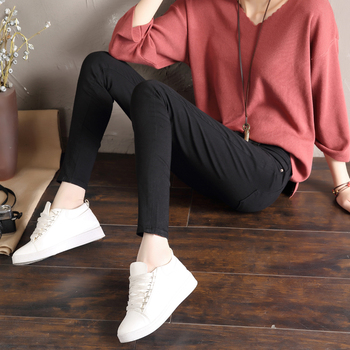 LYJMTDBK Women's white trousers pencil pants 2019 spring and autumn button pocket pants women's high waist elastic feet pants 5