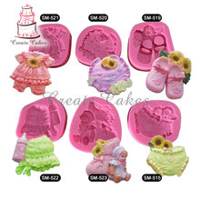 6pcs Baby Girl Clothes Cake Silicone Molds Shaped Silicone Mold Cake Decoration Fondant  3D Food Grade Silicone Mould SM-baby-01