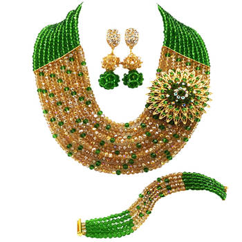 Green Gold AB Crystal African Wedding Beads Nigerian Beaded Necklace Jewelry Set Bridal Party Jewelry Sets for Women 10C-SZ28