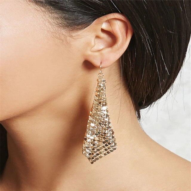 Us 1 7 34 Off Danze Oorbellen Fashion Steampunk Style Alloy Earring Women Mesh Dangle Earrings Simple Long Double Triangle Piercing Jewelry In Drop