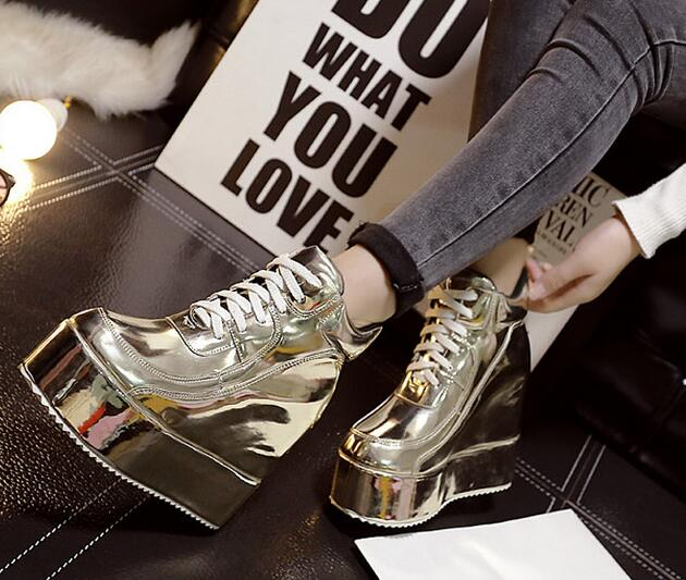 11-freeshipping 2015 Korean popular Autumn shoes women ankle boots girls fashion wedges trifle short boots round toe gold