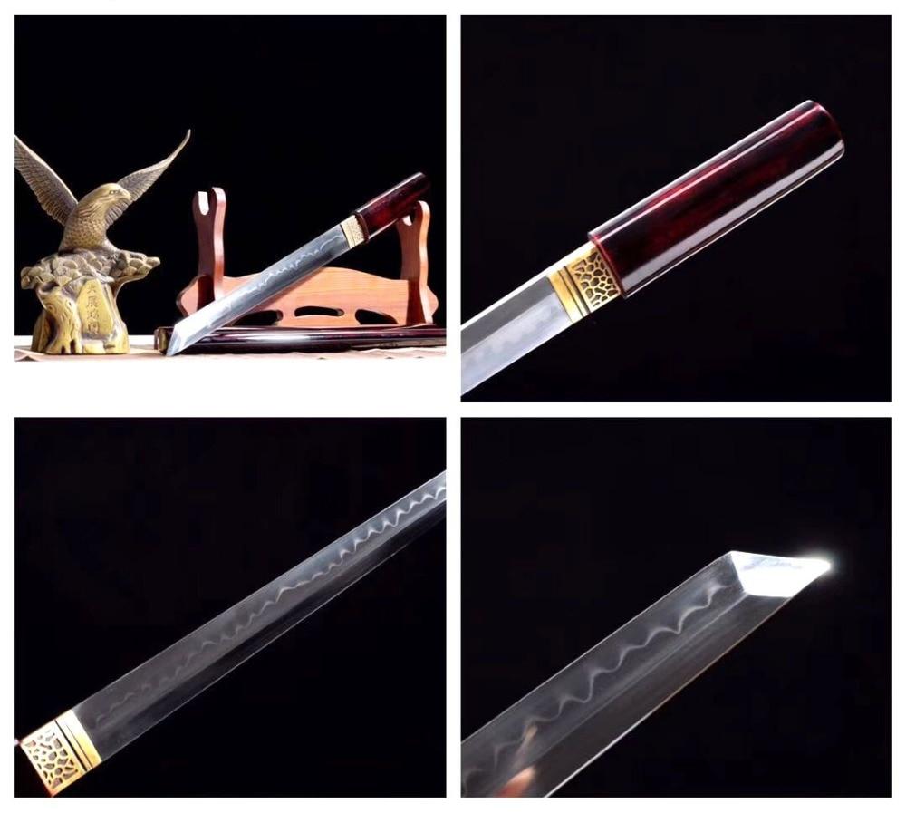 Bello Fatti A Mano T10 In Acciaio Completa Di Linguetta Tanto Giapponese Ninja Lama Diritta Samurai Katana Sword Argilla Temperato Lama Di Rasoio Affilato