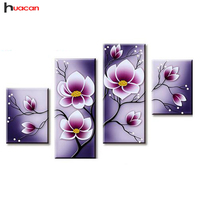 HUACAN Orchid Diamond Embroidery Mosaic Needle DIY Flowers Diamond Painting Patterns rhines Festival Gift Multi Picture F1744