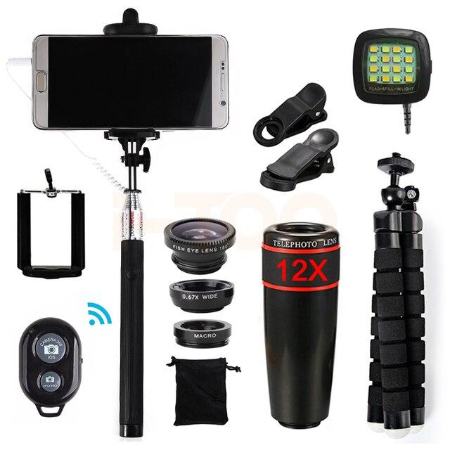 2017 15in1 4S 12X Zoom Telefoto Lentes Para iPhone 5 5C 5S SE 6 S 7 8 MAIS  Telefone Celular Kit de Lente Olho Peixe Macro Grande Angular lentes