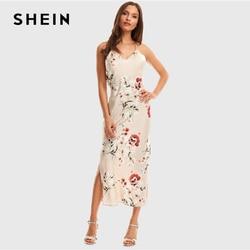 SHEIN Apricot Crisscross Draped Back Split Side Floral Satin Summer Maxi Dress Women Spaghetti Strap Glamorous Sexy Slip Dresses
