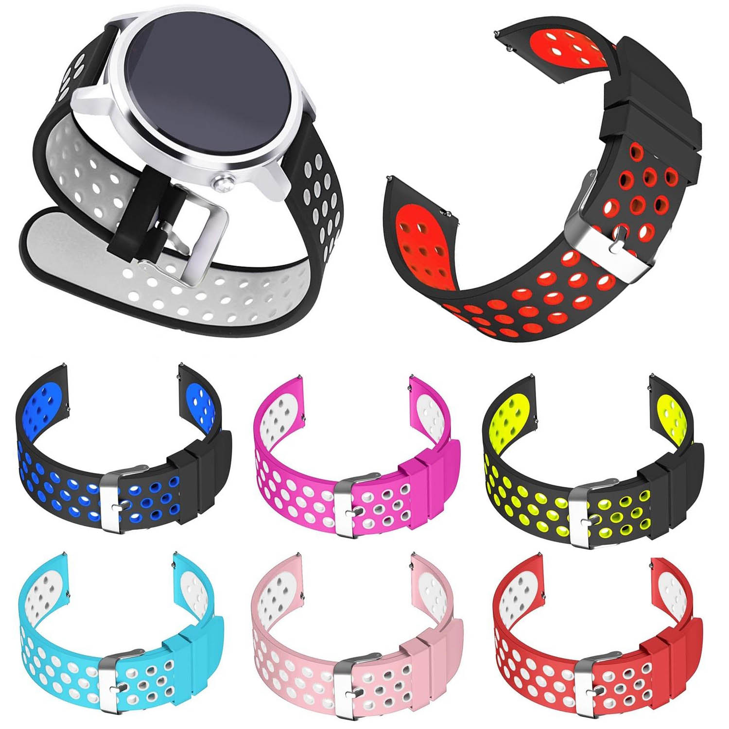 Soft Durable Silicone Bracelet for Huawei Watch 1st Gen Band 18mm / Huawei Watch 2 Sport Watch Strap 20mm Wristband w Metal Pins