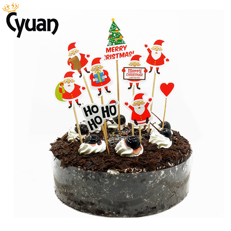 6 Designs Xmas Santa Snowman Paper Cupcake Toppers Kids