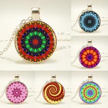 1pcs/lot Kaleidoscop Logo Pendant Necklace Handmade Buddhism Mandala Necklace Neon Blue  Yellow Boho Style Vintage Necklace HZ1