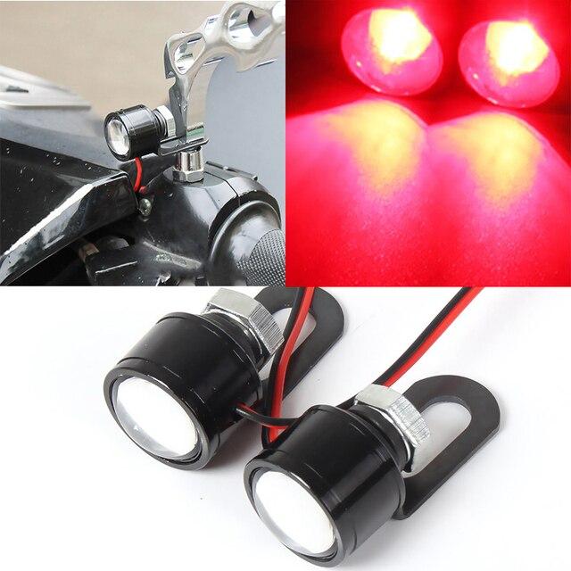 Nueva 1 par motocicleta rojo LED espejo luz de advertencia del flash ...