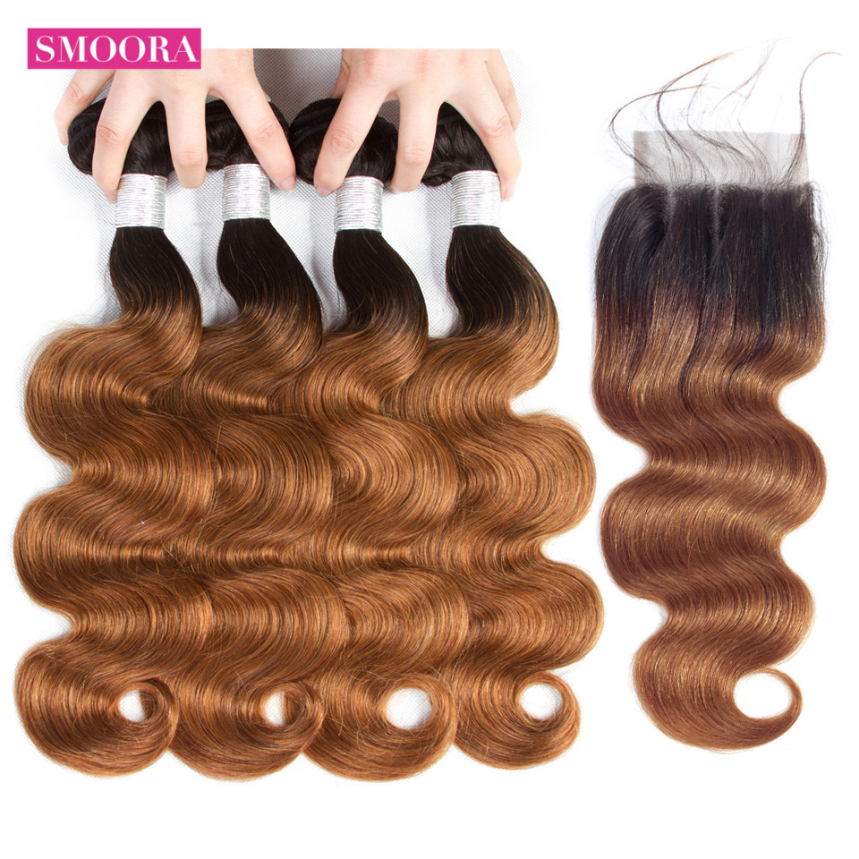 Pre-Colored Ombre Bundles With Closure Brazilian Body 4 Bundles With Closure T1B/ 30 Dark Roots Chestnut Brown Human Hair Smoora
