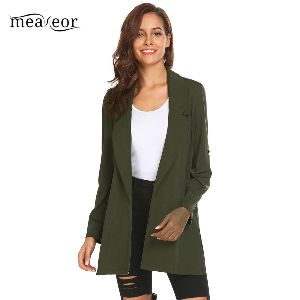 meaneor Coat Lapel Roll Up Sleeve Solid Casual Open Front Trench Women Cardigan ...