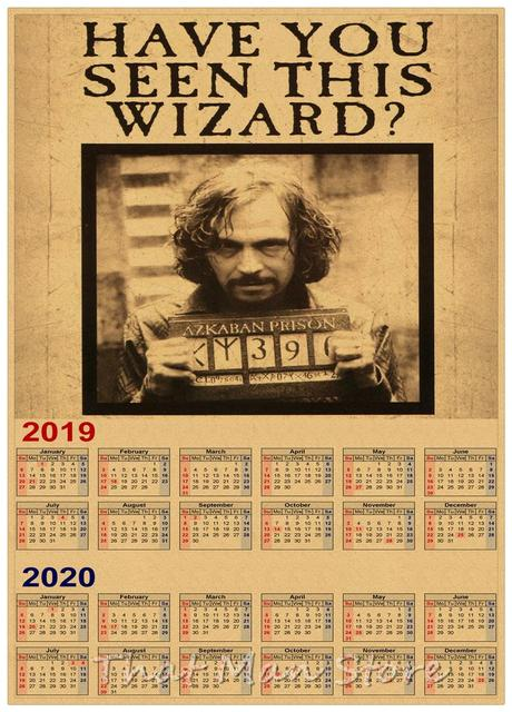 Poster Calendario 2020.Us 1 95 New Harry Potter Logo 2019 2020 Calendar Poster Vintage Antique Posters Wall Sticker Home Decora 42 30cm In Wall Stickers From Home Garden