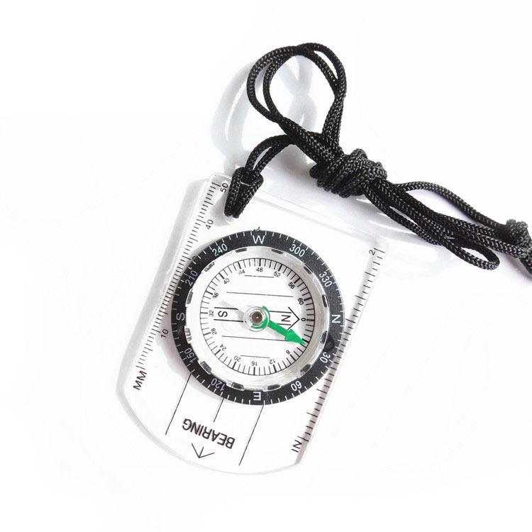 Mini Transparent Plastic Compass Compass Proportional Footprint Travel for Outdoor Camping Hiking Military Compass Tools