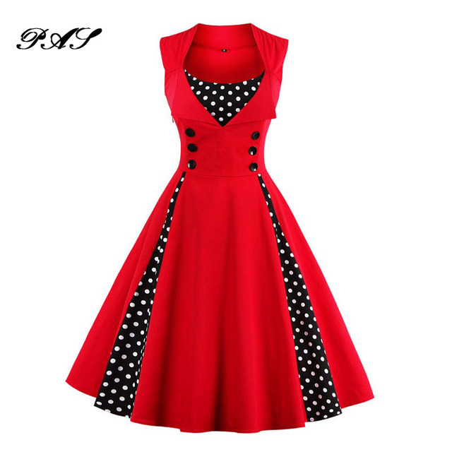077291cb625 Women Plus Size Dress Retro Vintage Dress Polka Dot Patchwork Sleeveless  Spring Summer Red Dress Rockabilly Swing Party Dresses