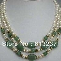 Красивый стиль 3 ряда 7-8 мм Прекрасный белый жемчуг зеленый нефрит камнем Халцедон камень DIY ожерелье решений MY4783
