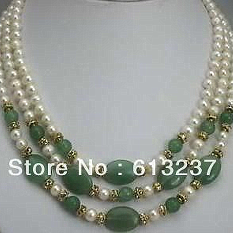 Beautiful style 3 rows 7 8mm lovely white pearl green jades stone chalcedony stone diy necklace making MY4783