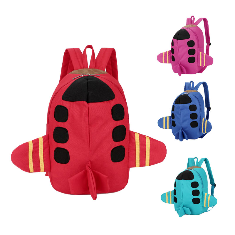 Oxfort Cartoon Plane Shape Kid Backpack Baby Child Toddler School Travel Bag Kindergarten read the world child bilingual picture books travel mode travel by car plane train ship to travel 4 volumes