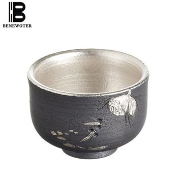 55ml Handmade Ceramic Japanese Style Carved Flowers Silver Teacup Kung Fu Tea Set for Sake Wine Tea Coffee Cup Drinkware