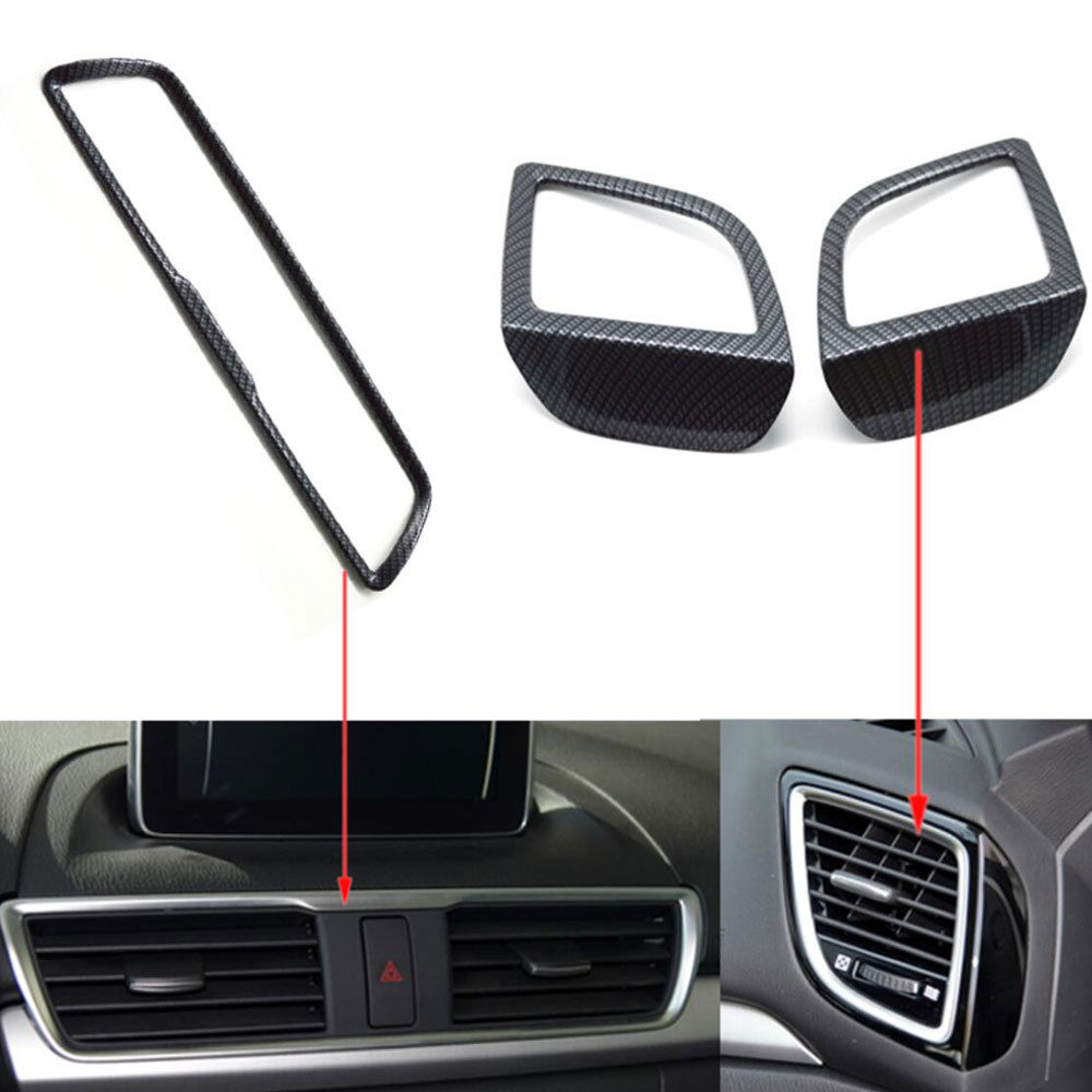 3x Auto Car Console Air Condition Vent Outlet Trim Cover Styling Sticker Fit For Mazda 3