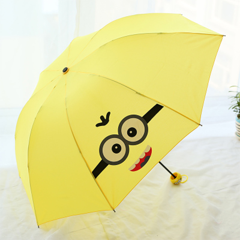 Yellow Creative Cute Cartoon Bear Rabbit Totoro Villain Children Umbrella 3 Folding Pongee Windproof Rain For Kids Z547