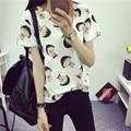 2016 Nueva Camiseta de Las Mujeres Tops Tees Mujeres camiseta de la Historieta de Manga corta de Las Mujeres Del Verano Impresa Ocasional Del O-cuello Camisetas Envío gratis