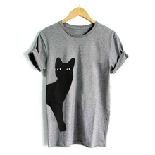 Cat Looking Out Side Print Women Tshirt Cotton Casual Funny Summer t shirt Short For Lady Girl Top Tee Hipster Tumblr Drop Ship недорого