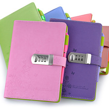 NEW Leather Notebook A5 Personal diary with lock code Personal Notepad stationery Products Supplies gift