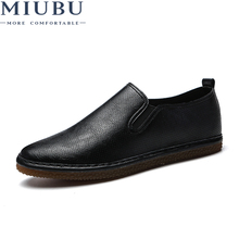 MIUBU 2019 Summer Casual Men Leather Shoes Breathable Flats Mens Slip On Male Fashion Lightweight Lazy
