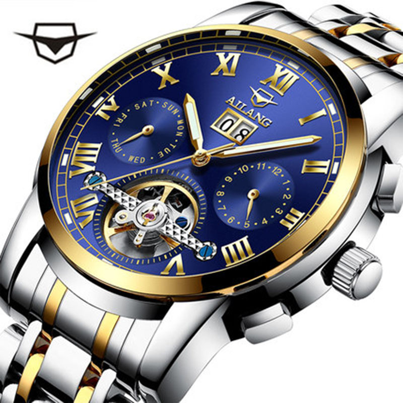 Genuine men watch fully automatic mechanical watch hollow-out fashion trend luminous flywheel waterproof steel band wrist watc все цены