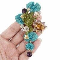 Bella Moda Emalia Zielona Żaba Lotus Flower Szpilki Broszka Austriacka Kryształ Rhinestone Zwierząt Broszki Dla Kobiet Biżuteria Party