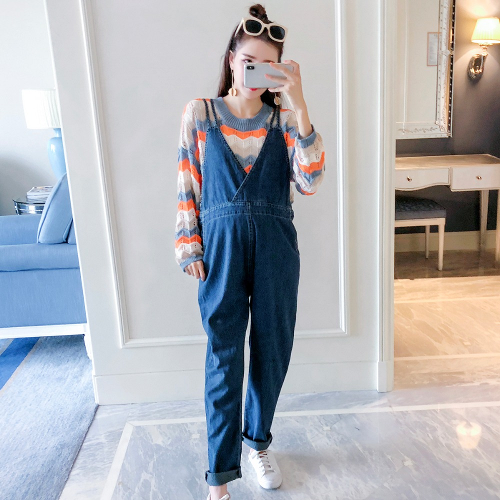 Pregnant women jeans 2018 autumn new fashion bib Korean version of the loose tide mother stomach pants wearing long pants