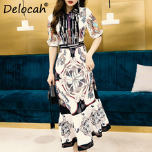 Delocah Women Spring Summer Dress Runway Fashion Designer Half Gorgeous Beading Vintage Printed Elegant Slim Long Ladies Dresses