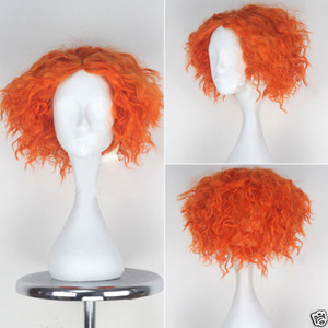 Image 1 - Alice im Wunderland 2 Mad Hatter Tarrant Hightopp Perücke Kurze Orange Wärme Beständig Synthetische Haar Perucas Cosplay Perücke + Perücke kappe